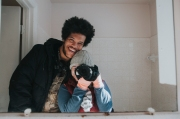 This is in their bathroom. His smile is so perfect.